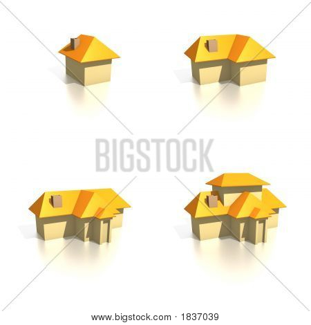 Houses - Four Icons From Small To Large
