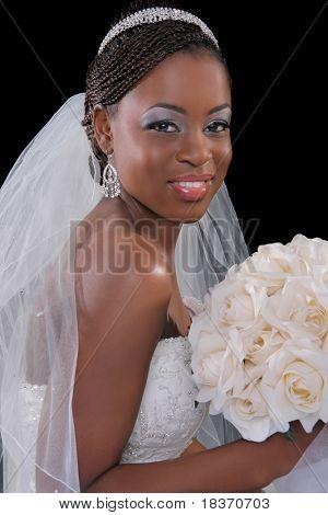 Beautiful African American Bride Portrait Sitting on Dark Background
