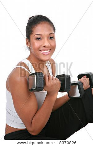 Healthy Looking Young African American Female Lifting Weight on Isolated Background