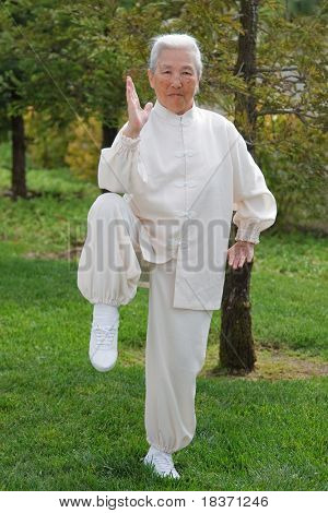 Chinese Elderly Woman Performing Taichi Outdoor
