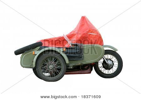 old motorbike on white background