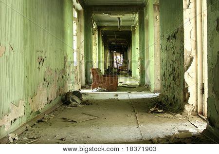 abandoned grungy corridor