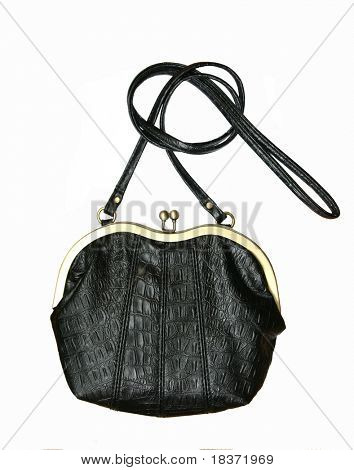vintage black fancy bag isolated on white background