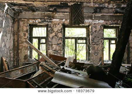 abandoned burnt house