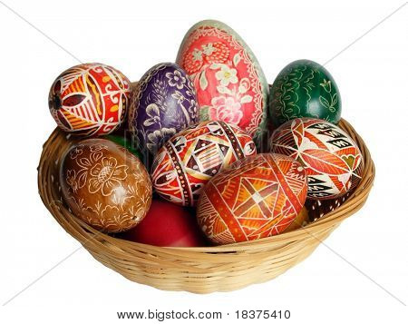 Easter basket of coloured eggs with big egg