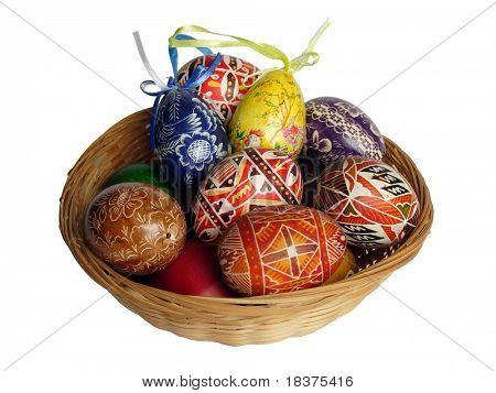 Easter basket of coloured eggs