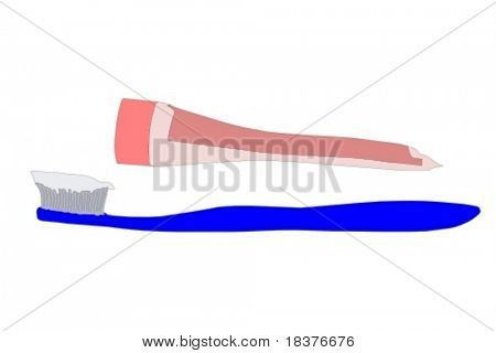 vector toothbrush with toothpaste and tube