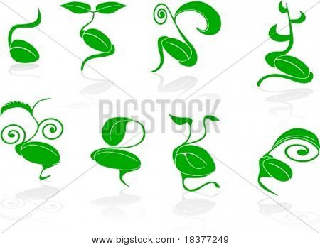 vector Set of 8 green seed with germination - spring theme