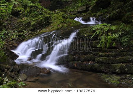 forest waterfall on river Mazak - Beskydy mountains - Czech republic