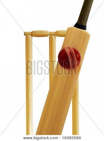 Cricket stumps, cricket bat and cricket ball
