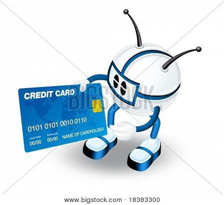 3D blue robot man holding credit card