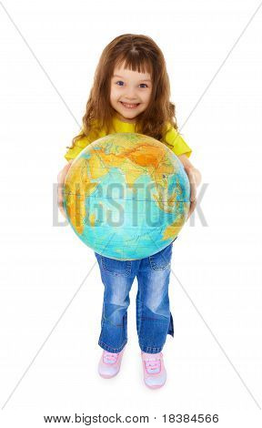 Cheerful Little Girl Gives Us Globe