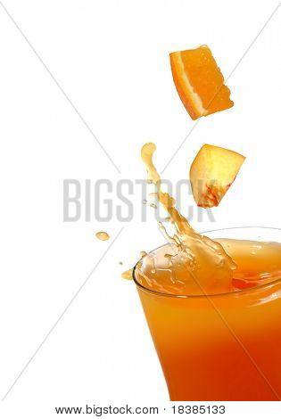 orange and peach juice splash