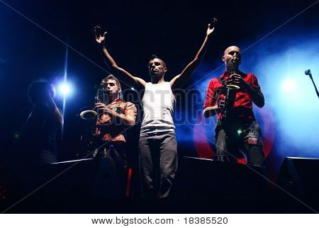 LOULE, PORTUGAL - JUNE 25: Balkan Beat Box  performs onstage at Festival Med June 25, 2008 in Loule, Portugal.