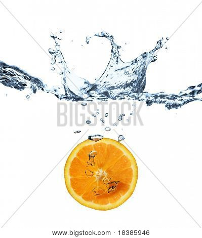 orange splash in water