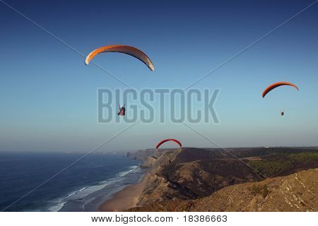 view of the beach coast in Algarve, Portugal-paraglider sports