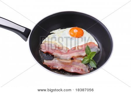 bacon and eggs in a frying pan isolated on white
