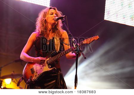 FARO, PORTUGAL - JULY 17: Ana Popovic performs onstage at  Internacional motorcycle show July 17 2010 in Faro, Portugal.