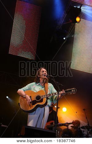 FARO, PORTUGAL - JULY 17: Roger Hodgson (supertramp) performs onstage at Internacional motorcycle show July 17, 2010 in Faro, Portugal.