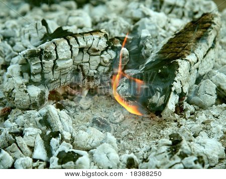 Heat, camp-fire, burning wood.