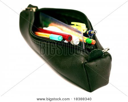 Pencil-case isolated on white.