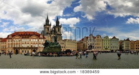 Panoramic view of Old Town Square (Stare Mesto or Staromestske namesti) in Prague, Czech Republic.