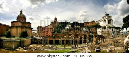 Panoramic view on ancient ruins and Vittorio Emanuele II monument (Victor Emmanuel II or Altar of the Fatherland) in Rome, Italy.