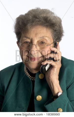 Happy Senior Woman On Telephone