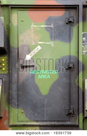 military vehicle door to restricted area to use as background
