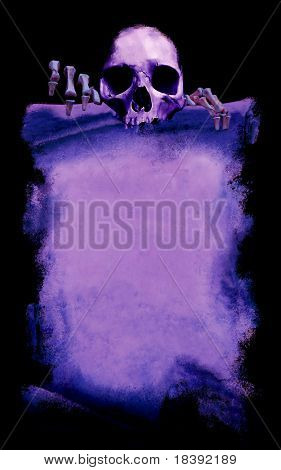 message from the death, grunge halloween poster with skeleton, purple on black background