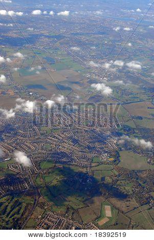 flying above rural england (near heathrow airport, london)