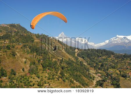 paragliding in nepal with himalaya view