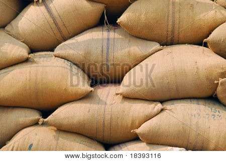 jute burlap bags background