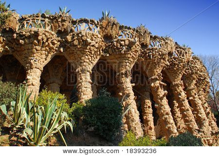 Arcade of stone columns in Park Guell, designed by Gaudi