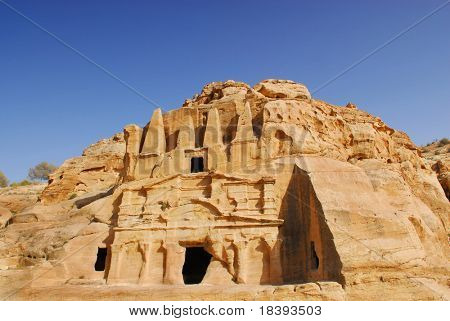 Nabataean obelisk tombe in world wonder Petra, Jordan