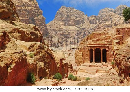 Little temple in the canyon of world wonder Petra, Jordan