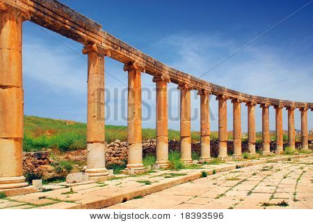 Greek and roman style architecture in Jerash, Jordan