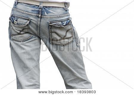 Cute male butt in stone washed jeans isolated on white background