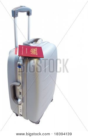 Trolley suitcase with european passport and boarding pass, ready to check in at the airport, isolated on white background