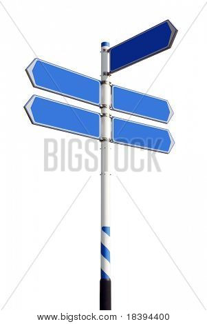 Conceptual blue roadsign with empty direction arrows for business solutions or locations, isolated on white background (with clipping path)