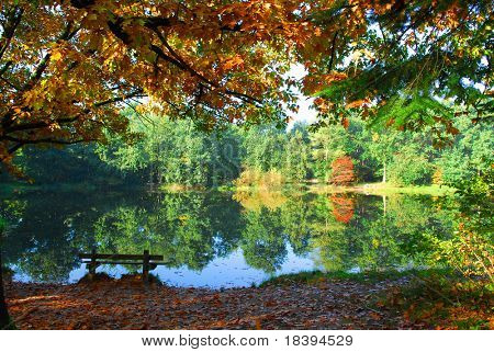 Lake in autumn time with reflection of colored autumn trees and a lonely bench to enjoy tranquility at the water