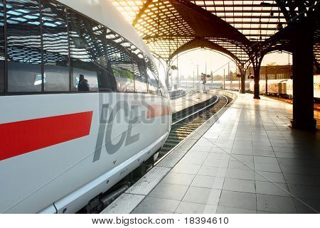 Intercity Express (ICE) train at railway station in Cologne, Germany