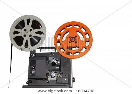 Vintage old fashioned movie projector isolated on white background