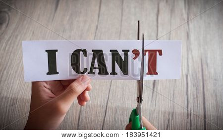 poster of Word i Can't Transformed Into i Can. Motivation Philosophy Concept.concepts Of Problem Solving,