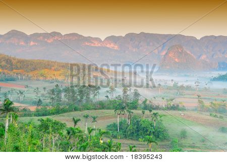 Fog at dawn in the Valley of Vinales in Pinar del Rio, famous for tobacco plantations in Cuba, world heritage site of Unesco
