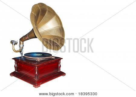 Vintage retro gramophone isolated on white background (clipping path included)