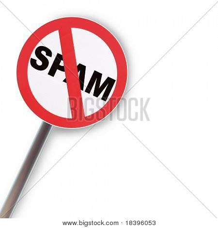 Reflecting road sign concept NO SPAM on white background