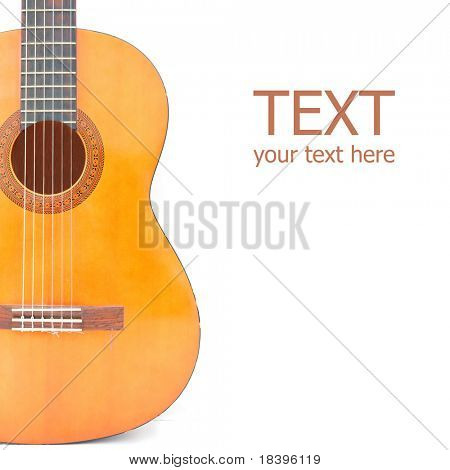 Classical acoustic guitar, isolated on white square background