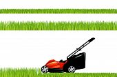 stock photo of clippers  - Lawnmower With Grass Set Isolated On White Background Vector Illustration - JPG
