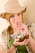 Safari Young Woman Drink Straw Coconut